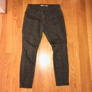 Green Snakeskin Rockstar Skinny Jeans